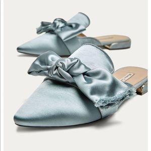 New Massimo Dutti Satin Bow Mules Flats Shoes